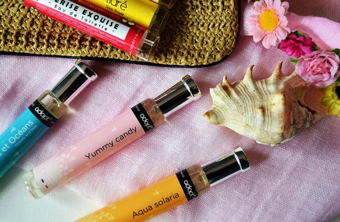 Photo de parfums Adopt' sur une étole rose dans Swanee Rose Le Blog