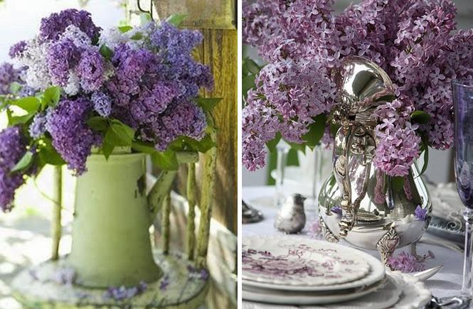 Photo d'un pichet et d'une théière en argent avec un bouquet de lilas sur Swanee Rose Le Blog