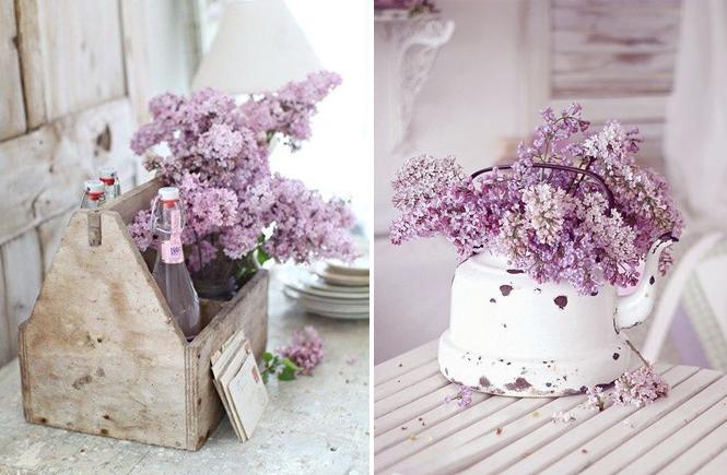 Photo de lilas dans une boîe à outils et dans une bouilloire blanche sur Swanee Rose Le Blog