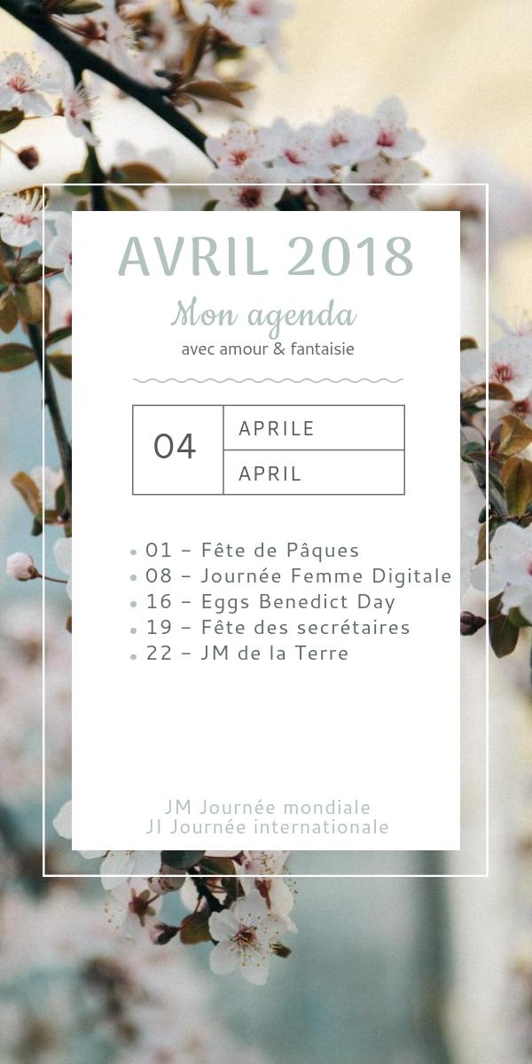 Mon agenda d'avril