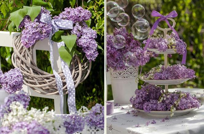 Photo d'une couronne et d'un centre de table avec du lilas sur Swanee Rose Le Blog