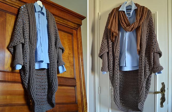 Photo d'une veste longue u crochet sur cintre sur Swanee Rose Le Blog