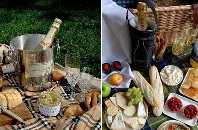 Phot de pique-niques avec bouteille de champagne sur Swanee Rose Le Blog