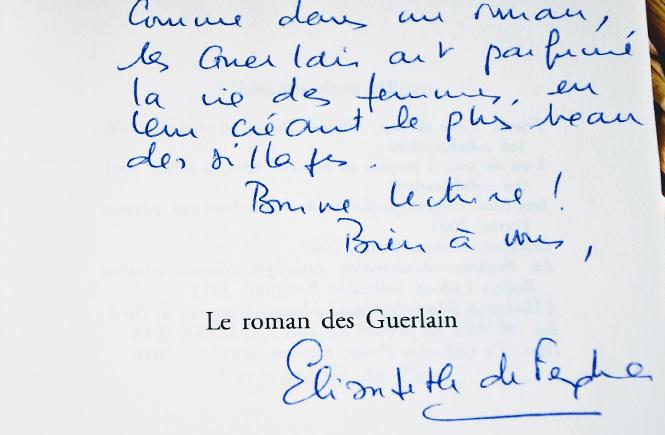 Dédicace d'Elisabeth de Feydeau pour Le roman des Guerlain