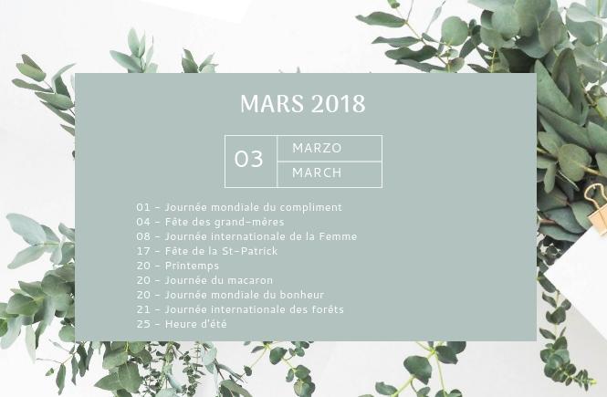 Mon agenda de mars
