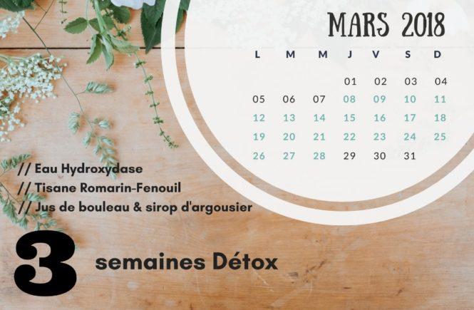Calendrier de suivi Détox Mars 2018