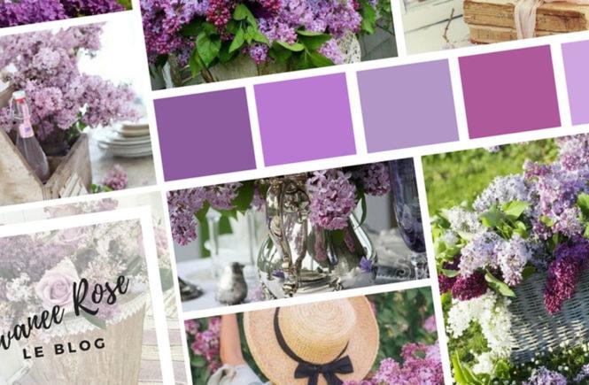 Photo d'un moodboard avec du lilas sur Swanee Rose Le Blog