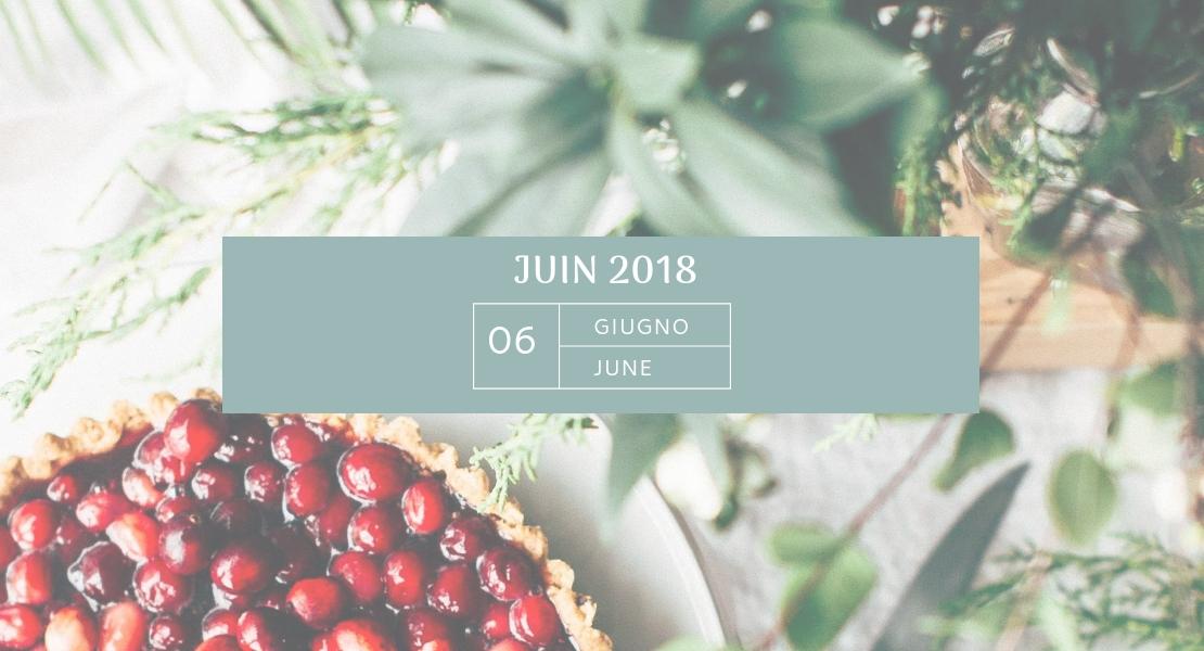 Tarte aux cerise et feuillage pour illustrer mon agenda de juin 2018