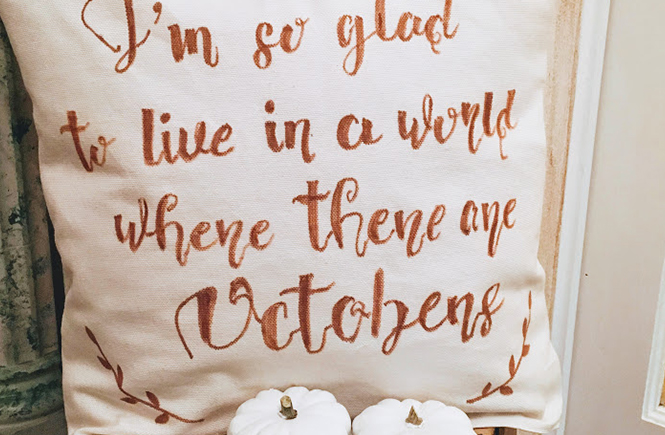 Coussin de bienvenue Octobre sur Swanee Rose Le Blog