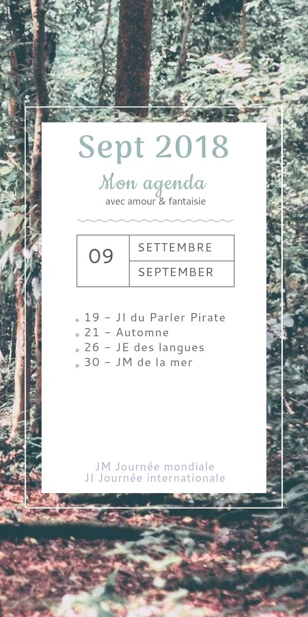 Mon agenda de septembre