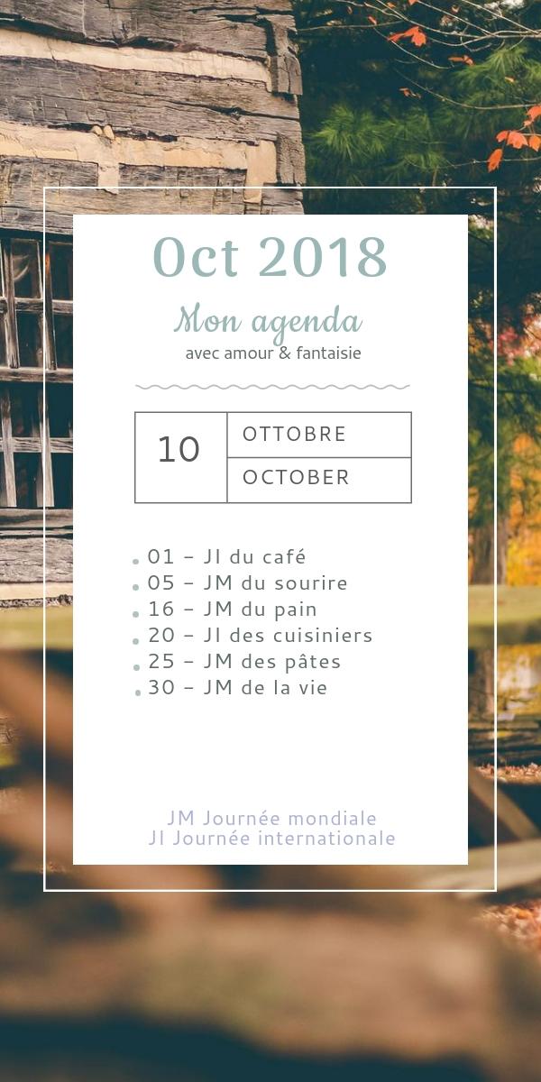 Mon agenda d'octobre