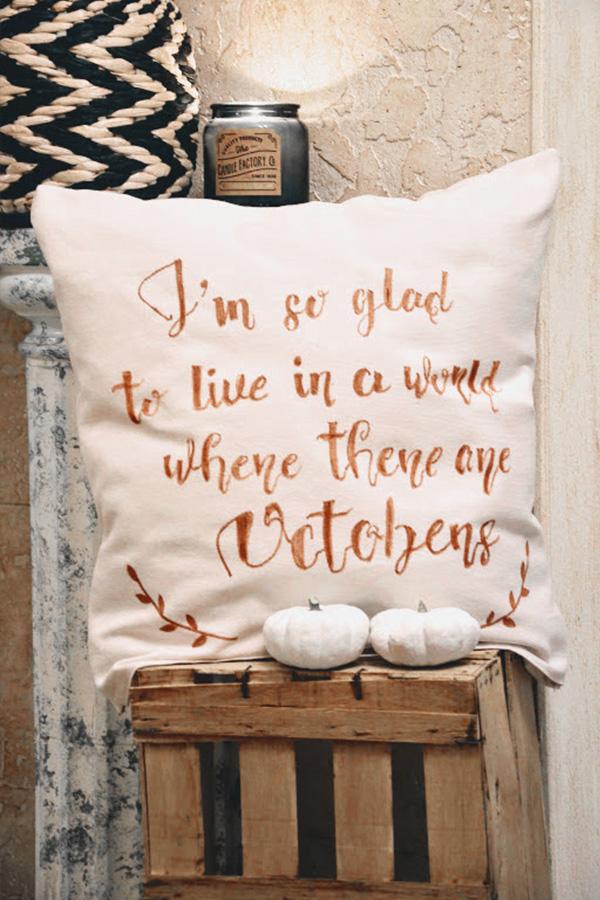 Coussin de bienvenue en octobre