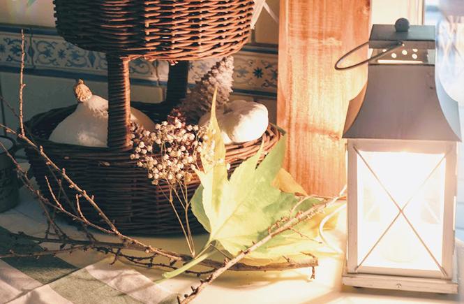Corbeille d'automne avec citrouilles sur Swanee Rose Le Blog