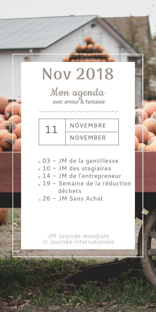 Mon agenda de novembre