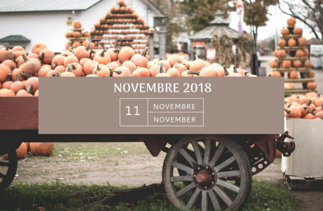Mon agenda de novembre 2018