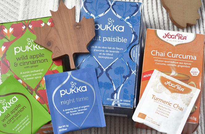 Tisanes d'automne Pukka et Yogi Tea sur Swanee Rose Le Blo