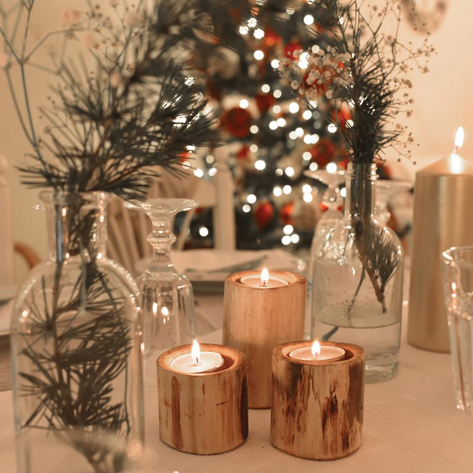 DIY Bougeoirs de Noël rustiques