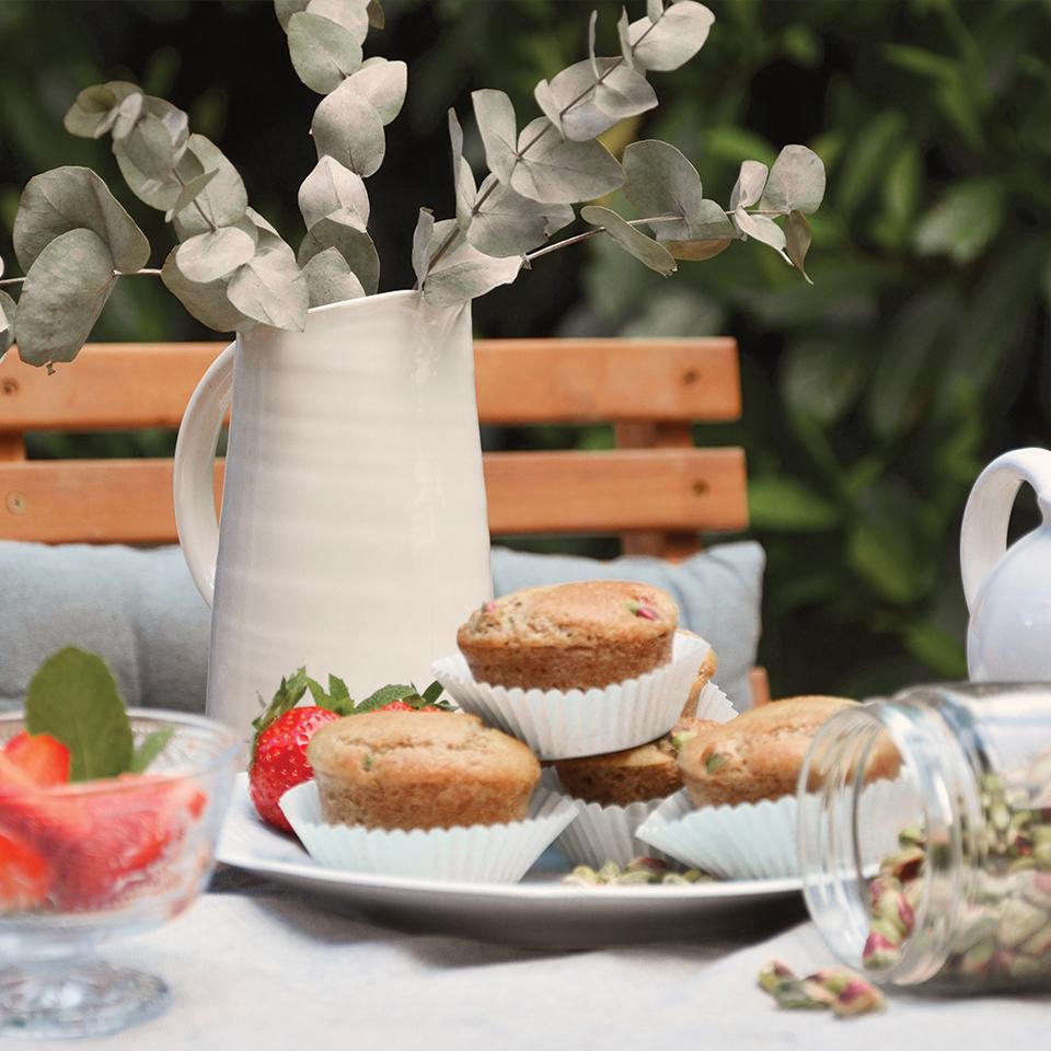 Muffins fraises pistache