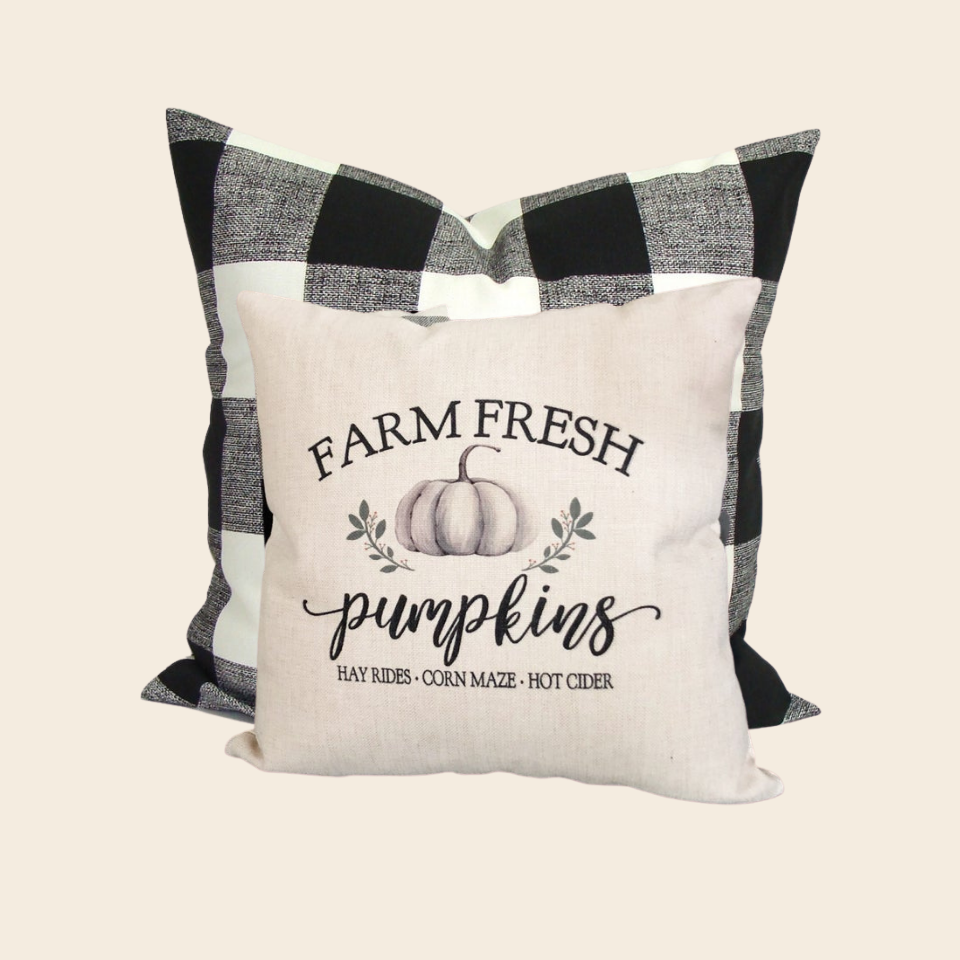 Housse Coussin Our Rustic Home Decor Pumpkins Farm Fresh